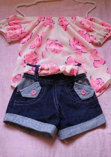Baby Girls Off Shoulder Denim Short Terno 3/4