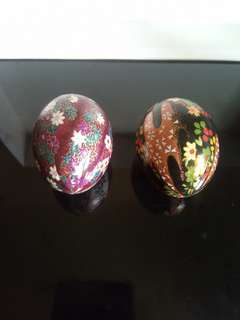Pair of intricately hand painted eggs
