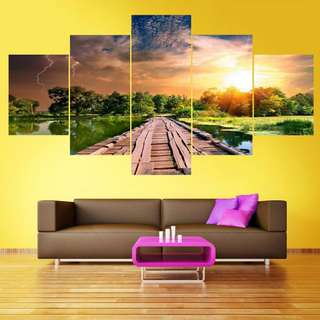 (Framed) 5 Piece Sunset Wooden Bridge Canvas Set
