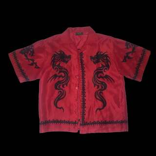 Red and black tribal dragon button up shirt