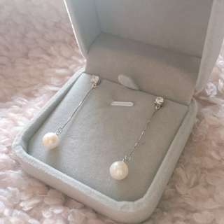 女神款高品質淡水珍珠閃石925銀耳環 High Quality Fresh Water Pearl Silver Earrings