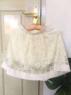 Lace white skort