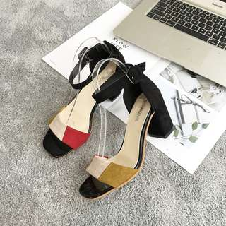 Women Color Block Open Shoes Suede Retro Chic Thick High Heels Ladies Sandals [Red/Blue]