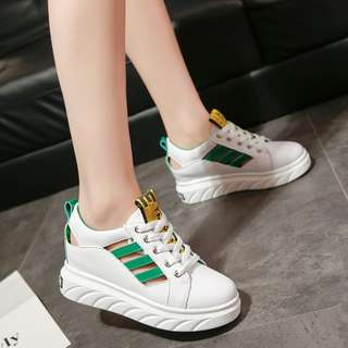 Women Breathable Sports Rubber Shoes Muffin Thick Heels Wild Plus Size Sneakers [Green/Orange/Black]