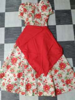 Red Floral Filipiniana Costume