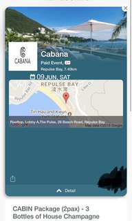 Cabana repulse bay (cabin package 3x bottle champagne) 3 people