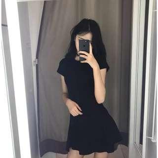 (全新) 短袖連衣 高腰顯瘦裙 純色氣質修身圓領中長裙