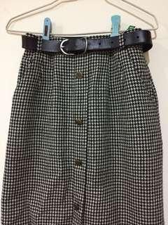 🚚 日本製vintage 古著經典千鳥格鉛筆長裙