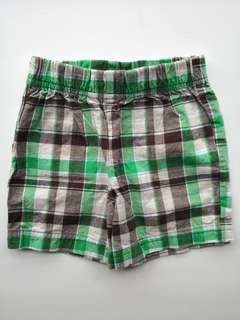 PRELOVED CARTER Baby Boy Green & Brown Checks Short Pants - in excellent condition