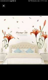 ☑️Instock Beautiful flower simple living room sofa background wall stickers home decoration stickers bedroom wall stickers can be removed