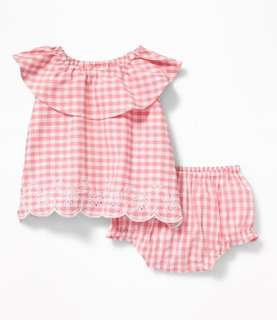 Old Navy Baby Girl Gingham Set