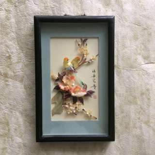 🆕Vintage seashell mother of pearl birds picture