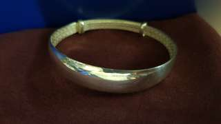 Pure handmade 999 silver bangle
