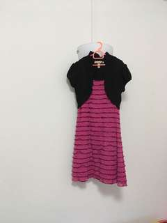 Pink frill dress with attached black shrug
