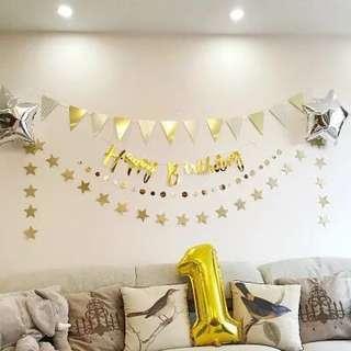 Happy Birthday Bunting (Gold)