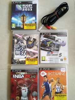 PS3 Games. Multiple titles. USED. + Original PS3 video cable