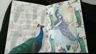 卖一张稀少的马来西亚国际钱币展 孔雀的纪念钞票包括folder一起 漂亮值得收藏
