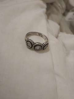 Silver ring with gem