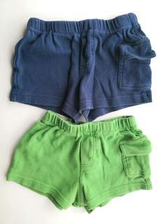 PRELOVED CIRCO Set of 2 Navy Blue and Green Baby Boy  Short Pants - in average condition