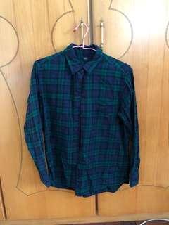 🚚 Uniqlo藍綠格子古著襯衫