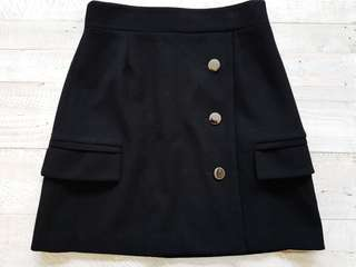 Cue Wool Felted Pocket A Line Skirt in Black - Size 10