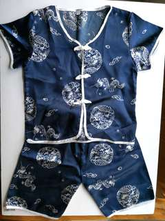 PRELOVED Dark Navy Blue Dragon Print Boy's Chinese Shirt & Pants (Sam Fu) Set - in good condition but with flaw