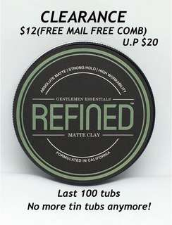 🚚 FREE MAIL FREE COMB REFINED Matte Clay Tin Tub 100ml