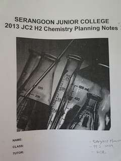 H2 chemistry planning notes