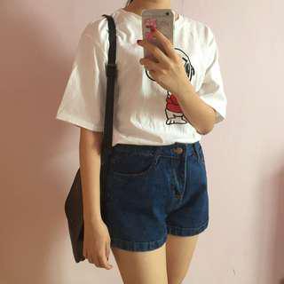 牛仔短褲 深藍色