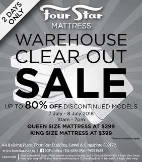 Four Star mattress warehouse clear out sale