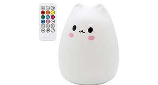 1176. Carton Night Light Silicone Remote Timer Cute Cat Lamp Tap Control Lamp For Kids Bedroom Nursery Baby [Wireless Remote Timer, USB Charge, Warm & White Light, 9 Color Breathing]