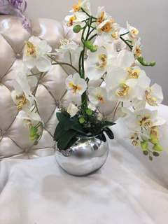 Artificial Orchid Arrangement & Glass Mirror Pot