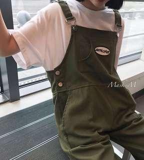 🚚 現貨街頭潮流✨寬鬆口袋吊帶工作九分褲