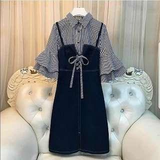 B FO OLIVER JEANS SALUR Baju setelan wanita cewe 2in1 kemeja dress ala korea Jepang modern model terbaru harga grosir murah best seller