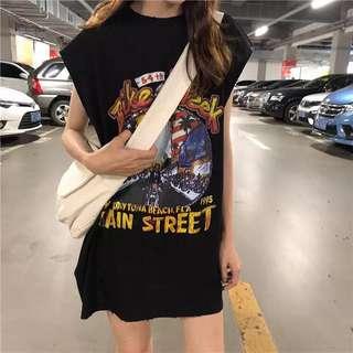 Minimei追加款✪韓系韓版歐美風百搭休閒 中長款帥氣老鷹印花背心T恤