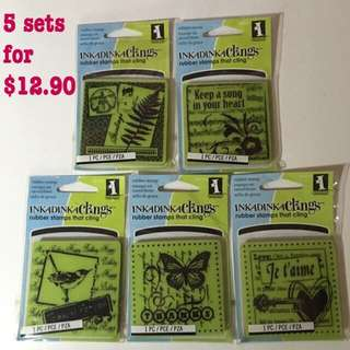 Inkadinkado Rubber Stamp Sets (5 In 1) -Greetings, Today Is For You, Thanks, Keep A Song In Your Heart, JE T'AIME