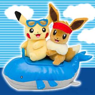 [PO] SEASONS PIKACHU & EEVEE PAIR PLUSH [SUMMER] - POKEMON CENTER EXCLUSIVE