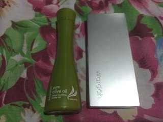 Wardah pure olive oil + pinky peach lip palette