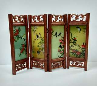 Miniature Wooden Screen With Glass Painting Flowers And Birds Design