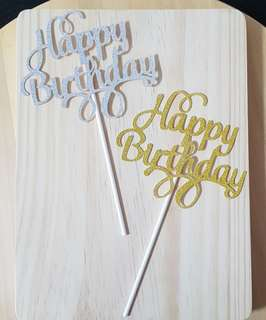 🚚 Brand New: Happy Birthday Cake Topper with Sparkly Glitters