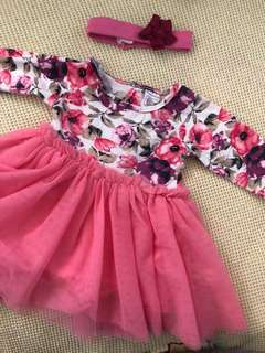 Pink patterned dress w headband