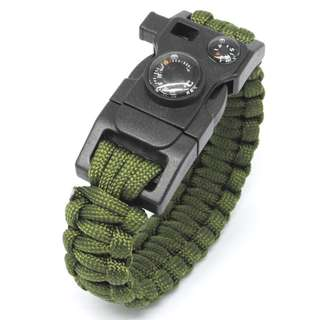 Paracord Survival Bracelet with Magnesium Fire Starter & Compass - Camouflage