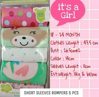 5PCS ROMPERS CARTER SHORT SLEEVES GIRL
