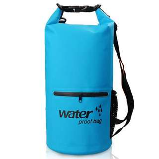 Outdoor Waterproof Bucket Dry Bag 10 Liter with Extra Pocket - Blue
