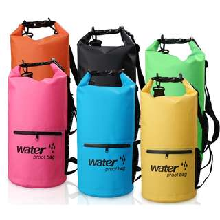 Outdoor Waterproof Bucket Dry Bag 10 Liter with Extra Pocket - Black