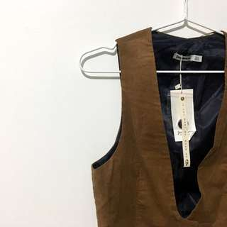 STRADIVARIUS Brown Corduroy Vest