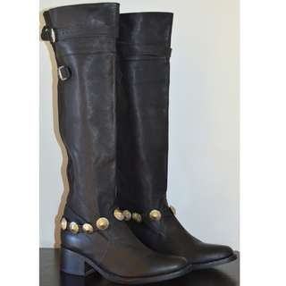 CAMILLA FRANKS BLACK LEATHER OVER THE KNEE BUCKLE PULL ON DRESS BOOTS *BRAND NEW* 40 9
