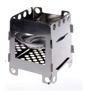 Outdoor Cooking Camping Folding Wood Stove Pocket Alcohol Stainless Steel / Besi Kompor - Silver