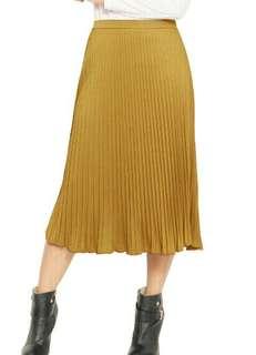 Rok Wanita Lipit Midi-Gold