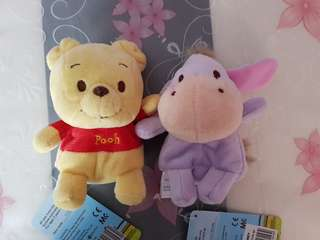 Beanie Soft Toy : Pooh / Eeyore / Piglet / Dale